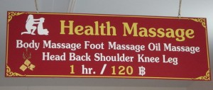 Thai massage - 1 hr costs about $3.50
