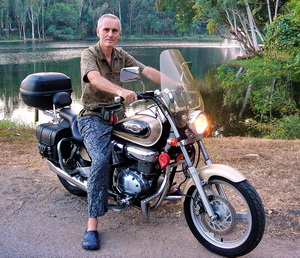 The author on his motorbike