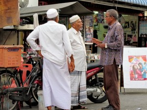 Muslim man in traditional sarong in Penang, Malaysia