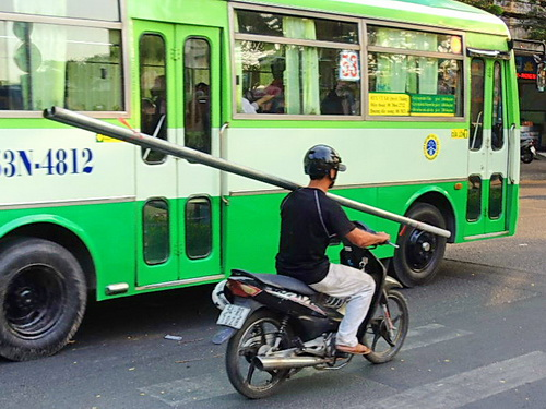 bike rider with pole