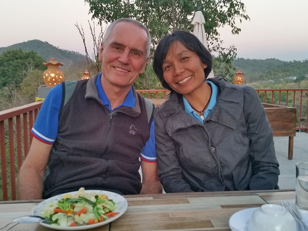 The author, Shama Kern, and his wife Jang at dinner in Omkoi Thailand